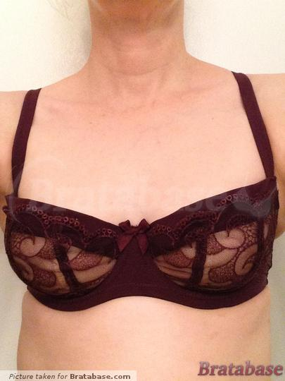 Masquerade Orla 30D: Front view.  Just a wee bit big in the cups, but I'll live with it.  Note that the beige behind the purple lace is another layer of bra fabric, not skin showing through. | 30D - Masquerade » Orla Non Padded Balconnet Bra (7031)