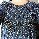 My bra-uplift tester shirt! When the outside angles of the pattern fall on the apexes of my boobs, the bra provides optimum uplift.