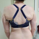 This back is very comfortable for me, having the j-hook fastened, a little tricky to get into my bra like this though, lol