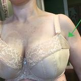 POST strap surgery... arrow points to the weird gaping on the sides. I've gotten that on the other bras I have altered, but not this pronounced.