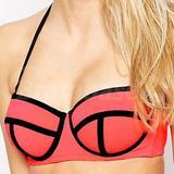 Mix And Match Contrast Longline Bikini Top Dd-g (637618)