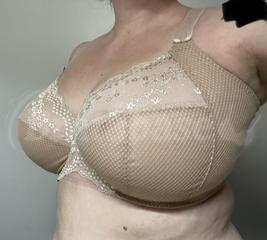 36J - Elomi » Charley Underwire Stretch Lace Plunge Bra (4382) Wearing bra - Angle shot