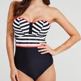 32E - Midnight Grace » Rita Chevron Underwired Bandeau Tummy Control Swimsuit (001908)