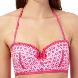 Pink Hearts Frill Balcony Bikini Top (0640206428)