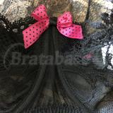 Center gore detailing with hot pink satin bow with black polka dots