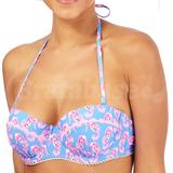 Blue Seahorse Print Bikini Top (0640206676)