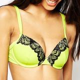 Contrast Lace Plunge Bikini Top (656752)