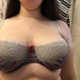 How the bra settles (post ~40 minute dog walk) -- my breasts move away from the gore. Odd because in bras I have with lower gores, my breast tissue spills to the center
