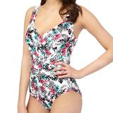 White Tropical Floral Underwired Tummy Control Swimsuit (0640205267)