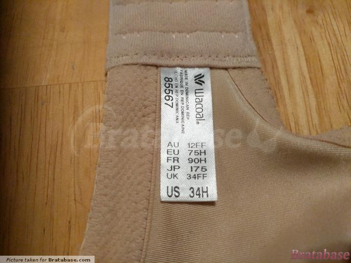 Label with bra sizes, brand logo, and model number. | 34H - Wacoal » Awareness Full Figure Seamless (85567)